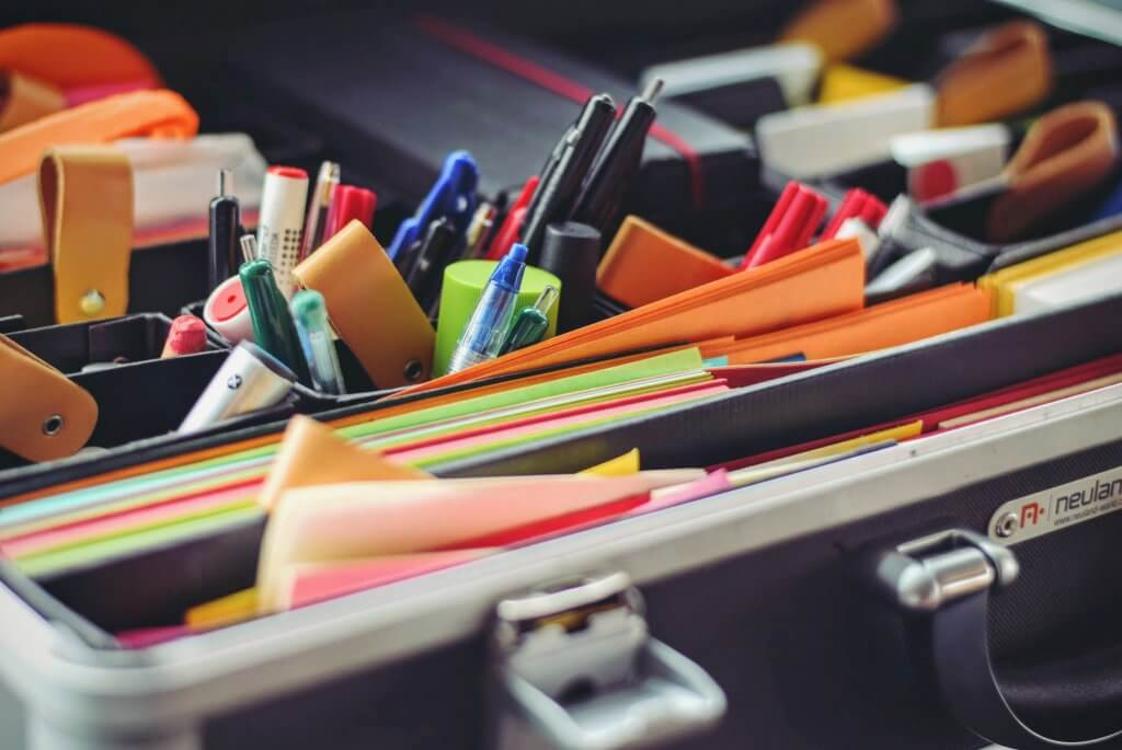 assortment of office supplies in contact center